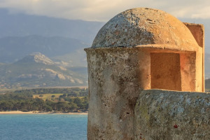 Calvi, Corsica: tower and panoramic view