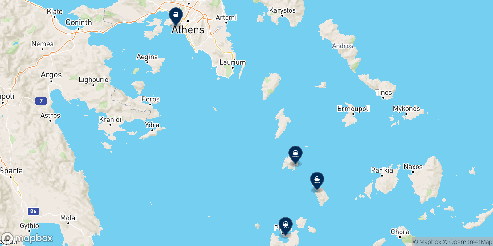 Aegean Speed Lines destination map