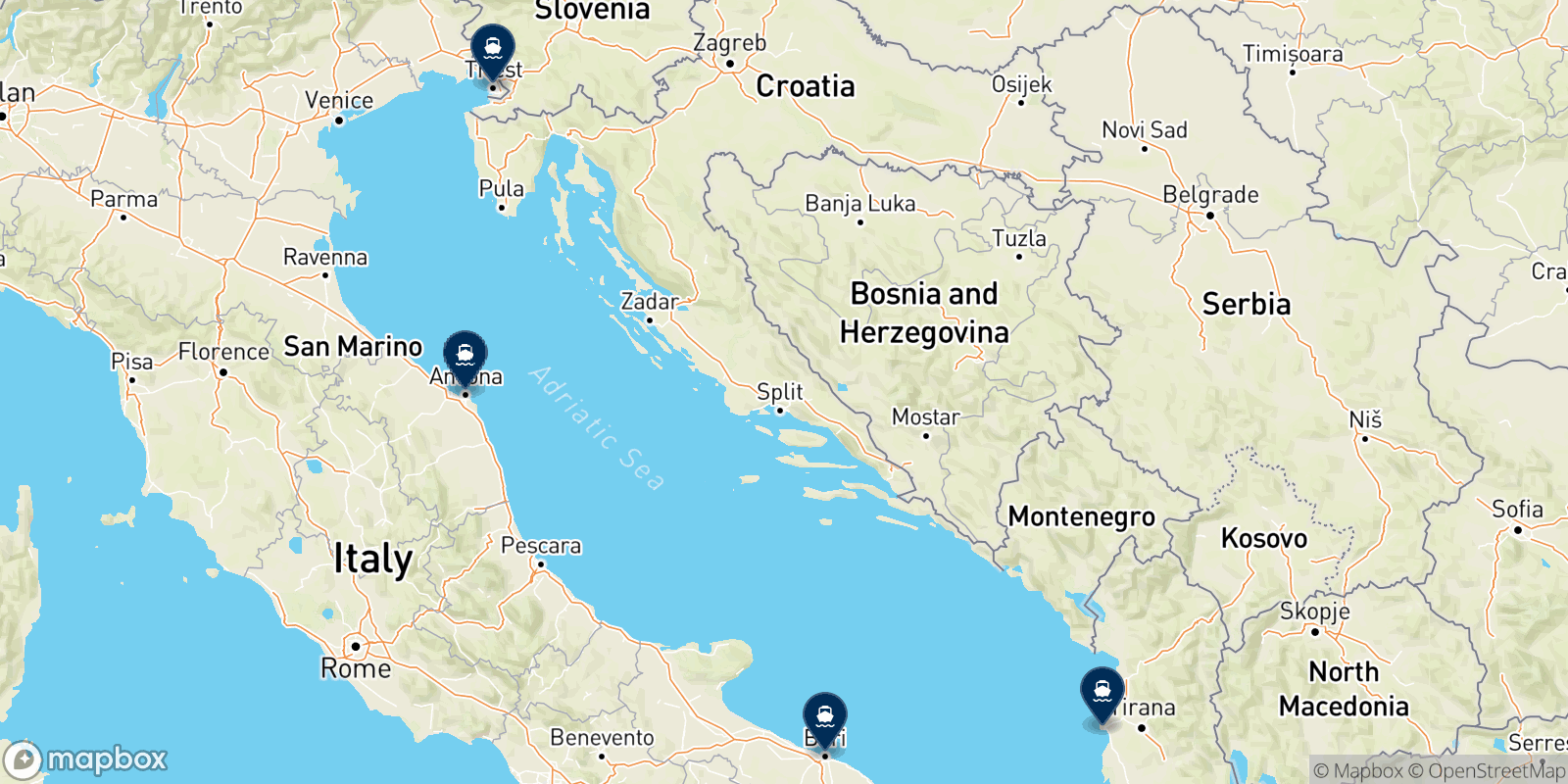 Adria Ferries destination map