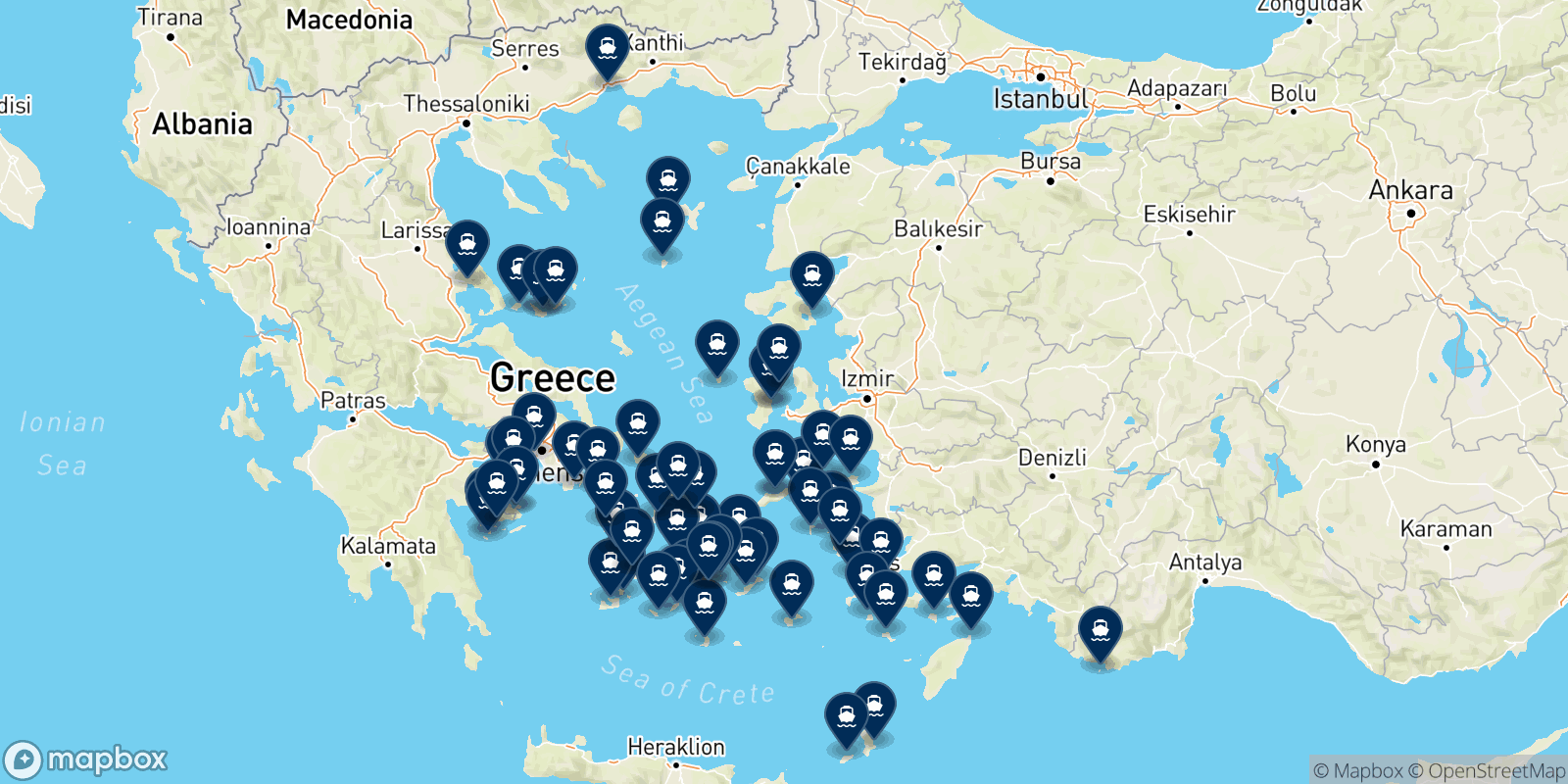 Blue Star Ferries destination map