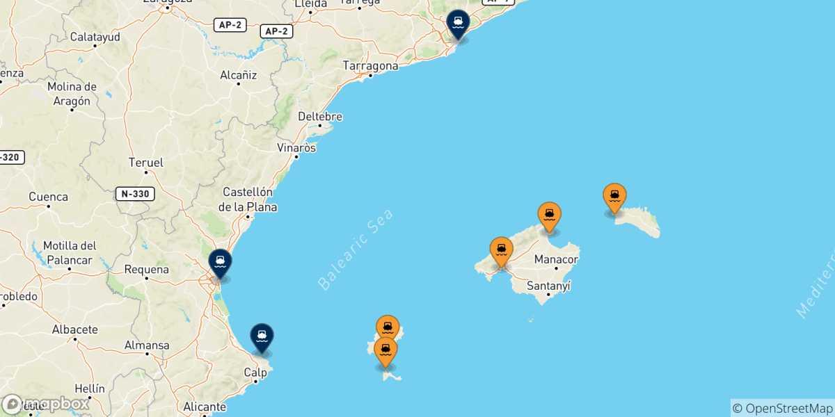 Cartina Spagna Isole Baleari.Traghetti Dalle Isole Baleari Per La Spagna 2021 Acquista Online Il Tuo Biglietto Con Netferry