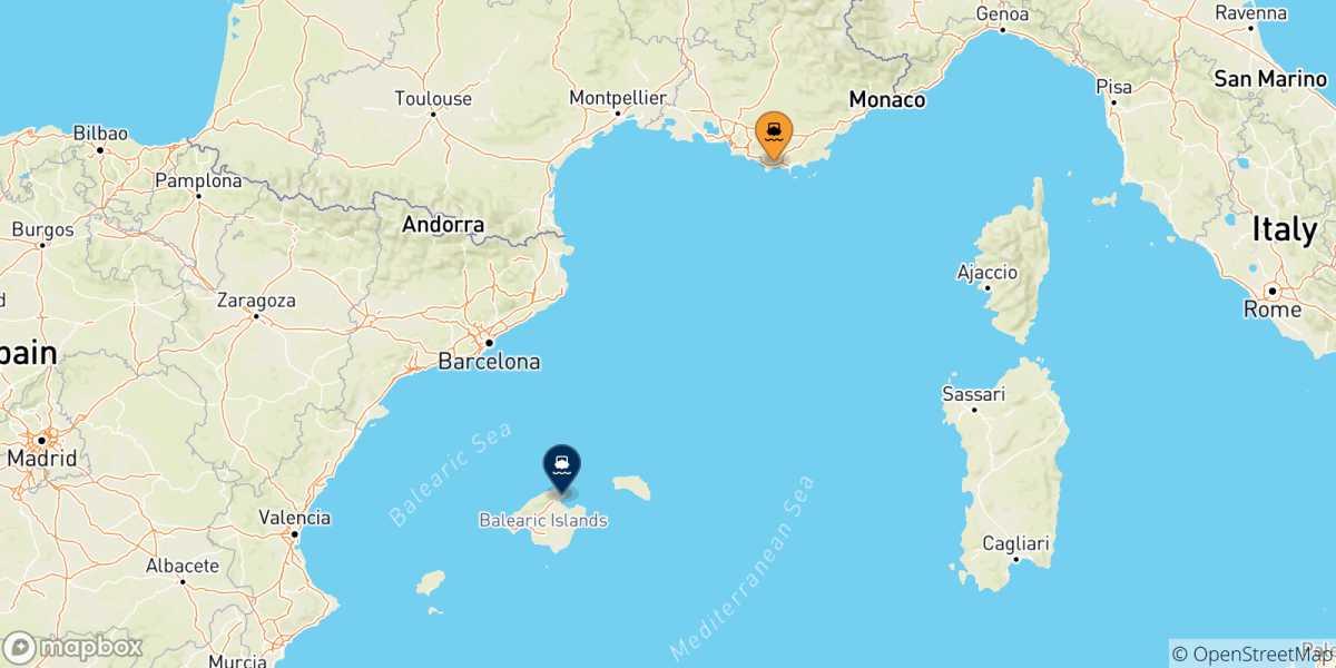 Cartina Spagna Isole Baleari.Traghetti Dalla Francia Per Le Isole Baleari 2021 Confronta Orari E Prezzi Con Netferry