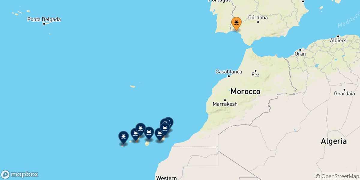 Spagna E Canarie Cartina.Traghetti Dalla Spagna Per Le Isole Canarie 2021 Confronta Orari E Prezzi Con Netferry